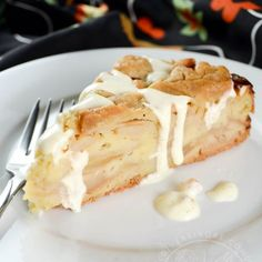 Swedish Apple Cake- Apple Cake Swedish Apple Cake with Vanilla Sauce – sort of a cake wrapped in a pie-pastry crust, this delicious scratch-based dessert beautifully showcases the flavour of apples, spices, vanilla, and almonds. Köstliche Desserts, Apple Desserts, Apple Recipes, Delicious Desserts, Dessert Recipes, Apple Cakes, Apple And Almond Cake, Almond Cakes, Swedish Apple Cake Recipe