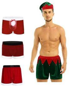 Men Satin Santa Claus Christmas Holiday Costume Boxer Shorts Thong Underpants