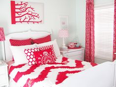 Our Guest Room - Red and Aqua Bedroom - Turquoise Aqua Walls, Red and White Anthropologie Chevron Quilt