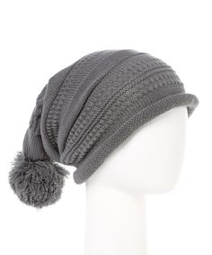 Love this Sierra Accessory Group Gray Stripe Slouchy Pom-Pom Beanie by Sierra Accessory Group on #zulily! #zulilyfinds