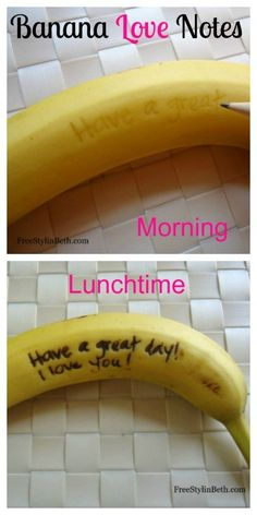 Love this.for the every day banana .Lunchbox Love Notes on a Banana Peel // Scratch a message and by lunch time it turns brown! My sweetie takes a banana in his lunch every day.he thought it was so cute when I did this~ Cute Food, Good Food, Boite A Lunch, Lunch Box Notes, Def Not, Snacks, Love Notes, School Lunch, Good To Know