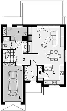 Projekt domu Tetris 123,1 m2 - koszt budowy - EXTRADOM Home Office, House Plans, Floor Plans, Houses, How To Plan, Home Offices, Blueprints For Homes, Homes, Home Plans