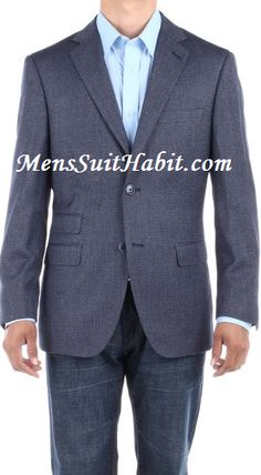 LN LUCIANO NATAZZI Mens Two Button Birds Eye 3 Piece Modern Fit Vested Suit