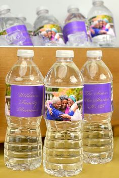 Personalized waterproof water bottle labels custom printed with your family photo and up to six lines of text, available in 38 label color options. Family Reunion Activities, Family Reunion Photos, Personalized Water Bottle Labels, Vinyl Paper, Custom Labels, Family Christmas, Custom Photo, Colorful Backgrounds, Family Photo