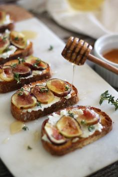 Ciabatta toast with goat cheese, figs, thyme and honey. Delicious!