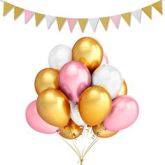 Party Balloons Pack 12 Inches Ultra Thickness Gold & Pink & White Balloons and Vintage Style Pennant Banner- Birthday/Wedding/Hawaii/Bachelorette/Baby Shower Party Decoration Supplies Gold First Birthday, Gold Birthday Party, First Birthday Parties, First Birthdays, 24 Birthday, Birthday Ideas, Princess Birthday, Princess Party, White Balloons