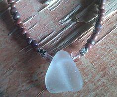 "Sea Glass Jewelry Necklace 19"" Beaded Strand Handmade BEACH Hawaii White Glow #Handmade #Pendant"