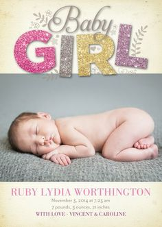 All Things Glitter: Heather - Girl Photo Birth Announcements in Heather | Hello Little One