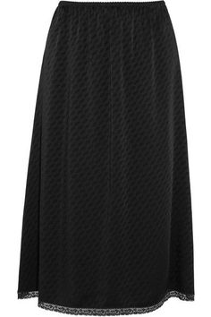 Maison Margiela - Lace-trimmed Jacquard Midi Skirt - Black - IT38