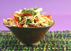 GInger Asian Slaw--lime juice, cabbage (best with nappa), carrot green onions, cilantro, and peanuts