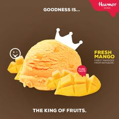 #GoodnessIs fresh ice cream made with the finest mangoes from Ratnagiri.