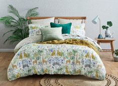 A contemporary update for the bedroom, the Wilderness quilt cover is an illustrative depiction of the African wild. Beautifully hand-drawn using pencil and watercolour, birds and butterflies hide amongst the foliage, while animals feature throughout. Double Quilt, Cotton House, Single Quilt, Animal Quilts, Homewares Online, Beds Online, Quilt Cover Sets, Queen Quilt, Bedroom Themes