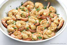 OUR GO TO GARLIC SHRIMP RECIPE! CAN OMIT THE LEMON JUICE... Quick Delicious Garlic Shrimp Recipe