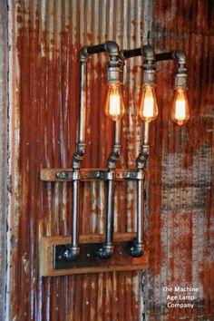 Details about Steampunk Lamp Industrial Machine Age Steam Gauge Light Gear Boiler Industrial Machine, Vintage Industrial, Industrial Furniture, Loft Wall, Machine Age, Steampunk Lamp, Pipe Lamp, Industrial Lighting, Industrial Pipe