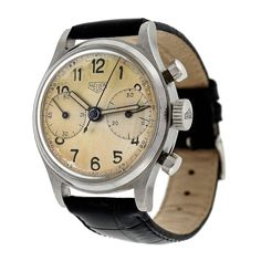 HEUER Stainless Steel Aviator's Chronograph Wristwatch, circa 1950s | 17 jewels; Vajoux 23 movement; original dial; width 35 - 38mm; weight 50g | from PETER SUCHY JEWELERS