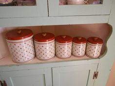 Canister set of 5 c1980s Creme with Rust by PearlsandPetticoats, $45.00