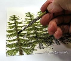 Stippling trees, lots of card tuts. Madi MacNevin via Ginger Smith onto painting Painting Lessons, Painting Tips, Art Lessons, Tole Painting, Painting & Drawing, Watercolour Tutorials, Art Tutorials, Painting Tutorials, Learn To Paint
