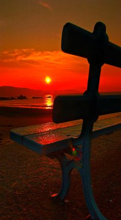 ~ best seat in the house ~ bench with gorgeous red sunset