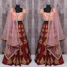 Presenting deep maroon lehenag with peach blouse and dupatta  Available for only 3400 INR  To buy WhatsApp @ +91 9054562754