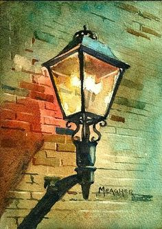 Day 15 - Trailshead Gaslight by Spencer Meagher Watercolor ~ 7 x 5. Pinning cuz this is my friend Spencer's, and I randomly came upon it! Awesome!!! :)
