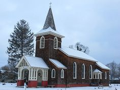 Old Grace Church, Massapequa, New York. The Episcopal church, erected in the Gothic Revival style in 1844, was the only church in Massapequa until after World War II. February 3, 2013.