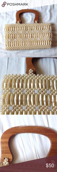 Pearl/beads handbag. Pearl/beads handbag with wooden handle. The wooden handle has some scratches but overall in great condition. Bags