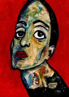 "Saatchi Art Artist CARMEN LUNA; Painting, ""45-RETRATOS Expresionistas.  Distante."" #art"