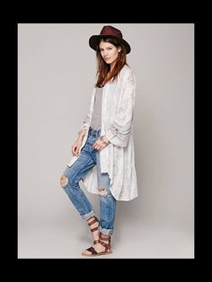 Kimono and boyfriend jeans from free people