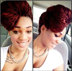 COLORED BRAIDS / BOX BRAIDS / PROTECTIVE HAIRSTYLE / HAIR UP DO / SYNTHETIC HAIRSTYLES / POETIC JUSTIC BRAIDS /