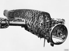 Fuselage skeleton of a Vickers Wellington Type 271 prototype medium bomber aircraft.