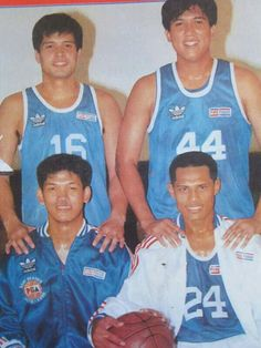 bb361a0a39a Jerry Codiñera ( Alvin Patrimonio ( Rodney Santos (on the warmup jersey)  and Ruben dela Rosa ( of the Purefoods TJ Hotdogs in