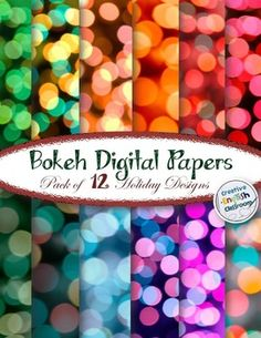 Holiday handouts should never be boring!!!  I love using digital papers to spice up my classroom resources. :)  And these bokeh designs are simply beautiful!