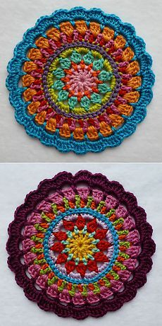 Spanish Mandala design was ins Crochet Home, Crochet Granny, Crochet Motif, Crochet Patterns, Crewel Embroidery, Embroidery Patterns, Hairpin Lace, Mandala Design, Sewing Crafts