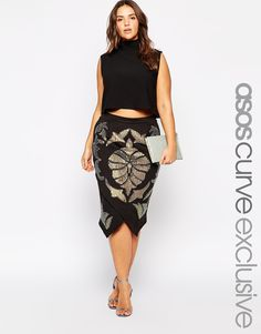 ASOS CURVE Wrap Skirt With Embellishment - I really want this to look good on me, but this lady is barely plus size (IMO) and the cut is pretty tapered. Maybe if it goes on sale!