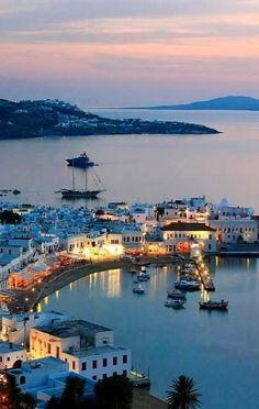 Mykonos Island by night.. Greece
