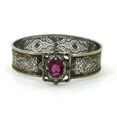 filligree  weeds  | SALE Art Deco Filigree Bracelet - Two Toned Silver and Gold with Pink ...
