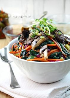 Mixed Vegetables and Beef Bibimbap | cHow Divine…