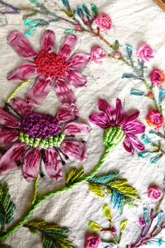 4 Flowers embroidery pattern