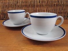William Sonoma Brasserie blue band cups and saucers two sets #WilliamSonoma