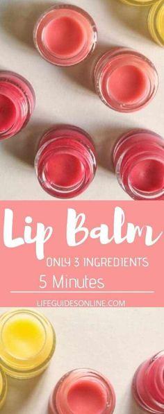 Homemade Lip Balm Recipe. Easy 5 minute lip balm diy