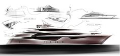 Icon 73 Milano Yacht by Hot Lab Design - Original Sketch Luxury Yacht Interior, Luxury Yachts, Fast Boats, Cool Boats, Yacht Design, Boat Design, Boat Sketch, Yatch Boat, Boat Drawing