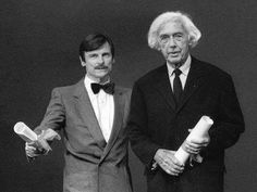 Two great master directors of the C20th Andrei Tarkovsky and Robert Bresson receiving the Grand Prix du cinéma de creation award (Best Director) at Cannes 1983 for L'Argent and Nostalghia.