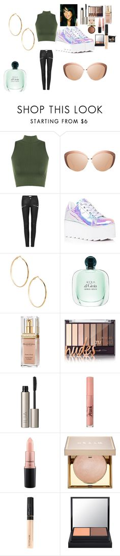 """Aaliyah Inspired Outfit and Makeup"" by jelly12-861 ❤ liked on Polyvore featuring WearAll, Linda Farrow, Y.R.U., GUESS by Marciano, Elizabeth Arden, Ilia, Too Faced Cosmetics, MAC Cosmetics, Stila and Physicians Formula"