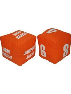 Some cardboard and tape and this could be adapted into an awesome meeting/party/camp activity!  Our bright orange Fitness Dice are a great way to keep your child active and they help build counting skills! Roll the die and then perform the exercise however many times the numbered die tells you to! You may roll 4 jumping jacks, 6 sit-ups, or 10 push-ups! One dice has fitness and exercise instructions and the other has large screen-printed numbers.