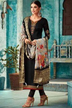 7125470633 Resham Embroidered Black Churidar Suit - LSTV01954 Fancy Party, Party Wear,  Punjabi Dress,