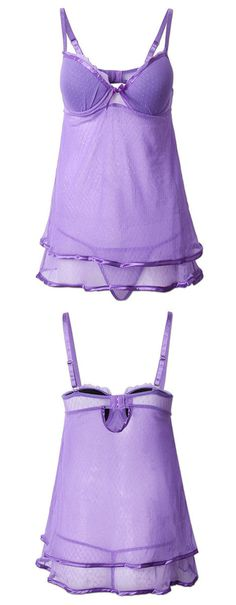 Plus Size Women Sexy Double Layer Nightdress Deep V Mesh Sleepwear