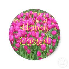 Pink Tulips Easter Sticker