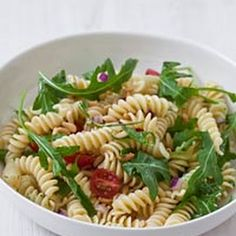 Pasta Salad with Tomatoes, Arugula, Pine Nuts and Herb Dressing