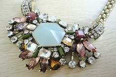 Burnished gold with multi stones bib statement short necklace, stone mix necklace, bib necklace, cabchon necklace, bridesmaid necklace on Etsy, $16.99