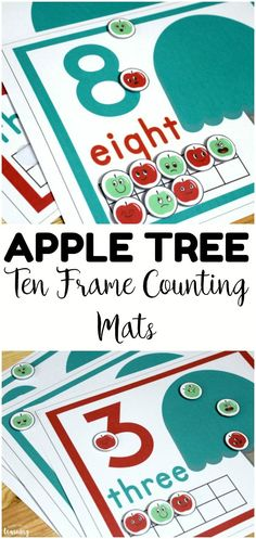 Make counting to ten a fun hands-on activity for early learners with these apple tree ten frame counting mats! Perfect for fall math centers! #lookwelearn #appletheme #appleactivities #mathcenters #tenframes #fallactivities #mathactivities